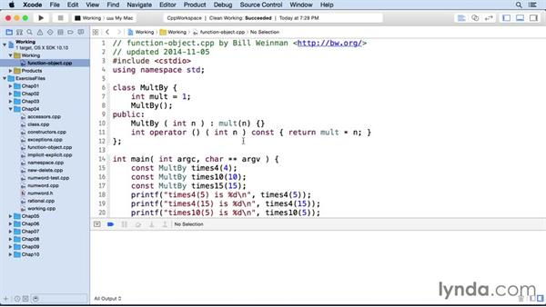 Creating function objects: C++ Essential Training
