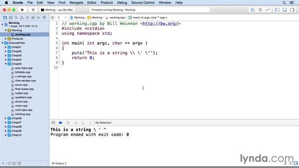 Character-escape sequences: C++ Essential Training