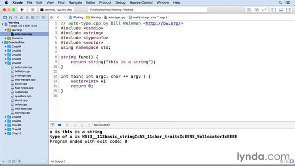 The auto type: C++ Essential Training
