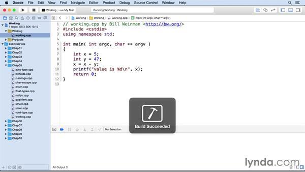 Common operators: C++ Essential Training