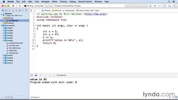 Compound assignment operators: C++ Essential Training