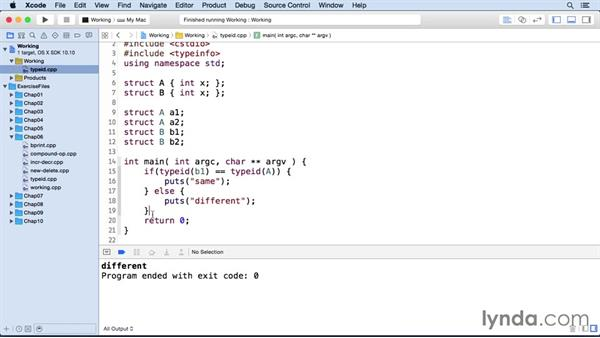 Determining the type of an object with typeid: C++ Essential Training
