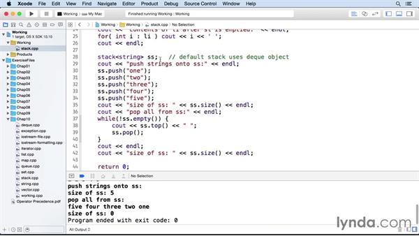 Stacks and queues: C++ Essential Training