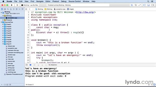 Handling exceptions: C++ Essential Training