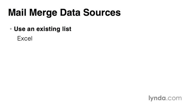 Choosing or creating a data source: Word 2013: Mail Merge in Depth