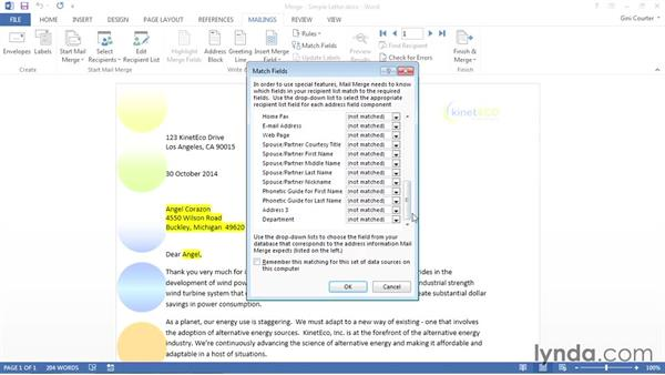 Matching fields from the data source: Word 2013: Mail Merge in Depth