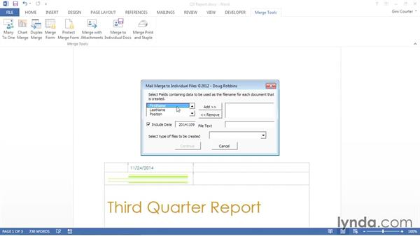 Merging to individual files: Word 2013: Mail Merge in Depth