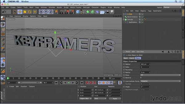 Creating action-movie titles using Sweep NURBS: Mograph Techniques: Movie Trailer Titles in CINEMA 4D and After Effects