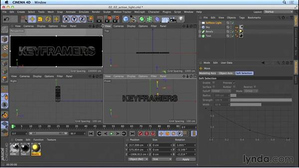 Lighting the action-movie title: Mograph Techniques: Movie Trailer Titles in CINEMA 4D and After Effects