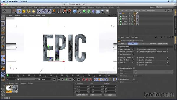 Texturing the fantasy-movie title: Mograph Techniques: Movie Trailer Titles in CINEMA 4D and After Effects