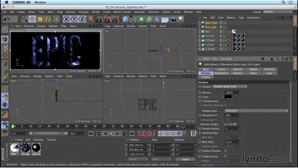 Lighting the fantasy-movie title: Mograph Techniques: Movie Trailer Titles in CINEMA 4D and After Effects