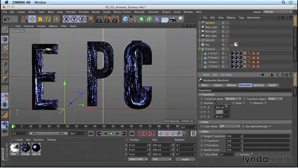 Animating the fantasy-movie title with the Random and Shader effectors: Mograph Techniques: Movie Trailer Titles in CINEMA 4D and After Effects