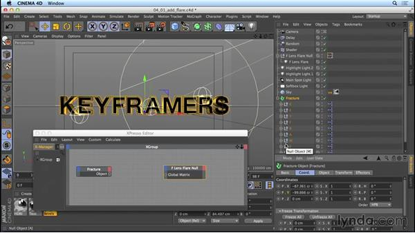Adding lens-flare lights with Xpresso: Mograph Techniques: Movie Trailer Titles in CINEMA 4D and After Effects