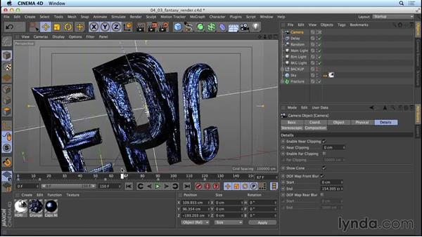 Setting up the fantasy-movie title for rendering: Mograph Techniques: Movie Trailer Titles in CINEMA 4D and After Effects
