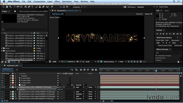 Importing assets and compositing passes in After Effects: Mograph Techniques: Movie Trailer Titles in CINEMA 4D and After Effects