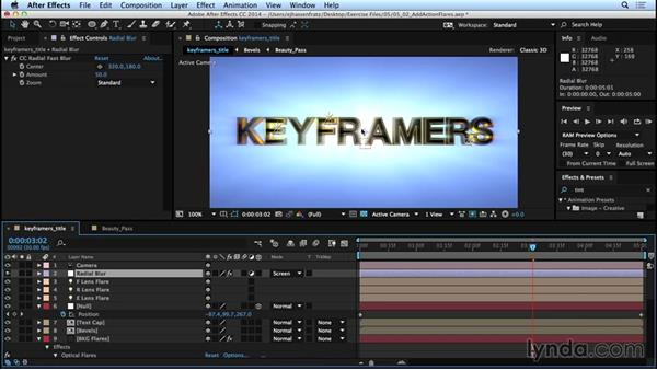 Adding optical flares with the Video Copilot Optical Flares plugin: Mograph Techniques: Movie Trailer Titles in CINEMA 4D and After Effects