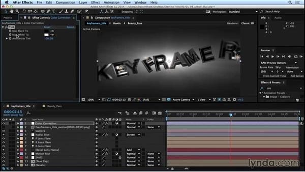 Adding motion blur and color correction: Mograph Techniques: Movie Trailer Titles in CINEMA 4D and After Effects