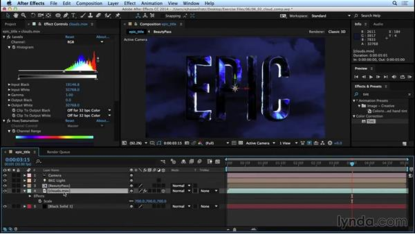 Compositing over footage of clouds: Mograph Techniques: Movie Trailer Titles in CINEMA 4D and After Effects