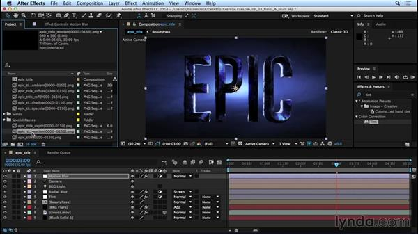Adding motion blur, depth of field, and lens flares: Mograph Techniques: Movie Trailer Titles in CINEMA 4D and After Effects