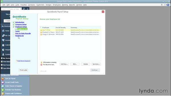 Working with the Payroll Setup interview: QuickBooks Payroll Essential Training