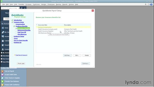 Setting up insurance benefits: QuickBooks Payroll Essential Training