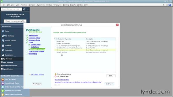 Scheduling payroll tax payments: QuickBooks Payroll Essential Training