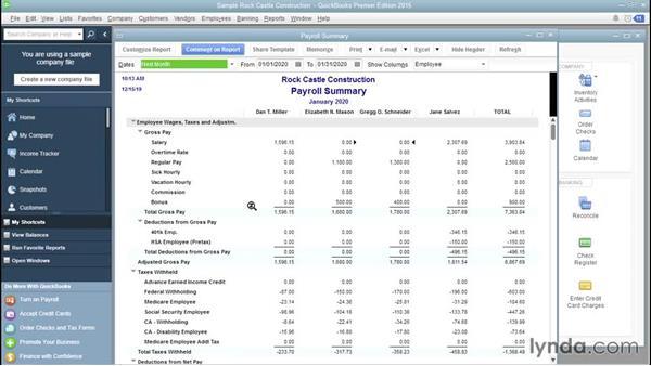 Running payroll reports: QuickBooks Payroll Essential Training