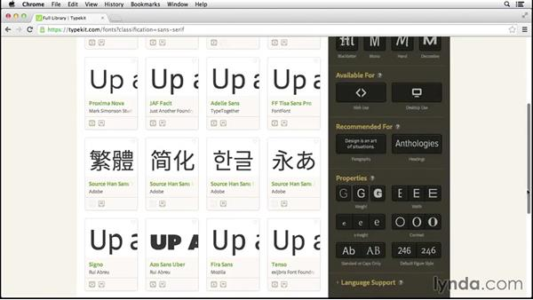 Filtering font results: Up and Running with Typekit