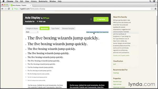 Examining a font: Up and Running with Typekit