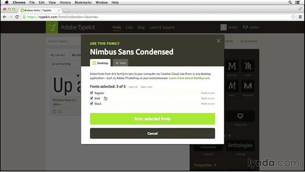 Selecting fonts for desktop use: Up and Running with Typekit