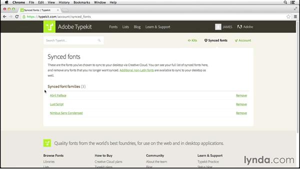 Managing desktop fonts: Up and Running with Typekit