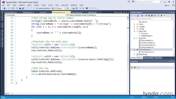 Adding data to HTML tables at runtime: Code Clinic: C#