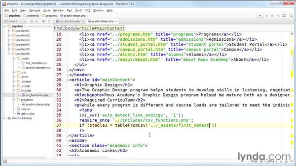 Displaying the table in a webpage: Code Clinic: PHP