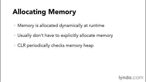 Memory management and garbage collection: C# Essential Training