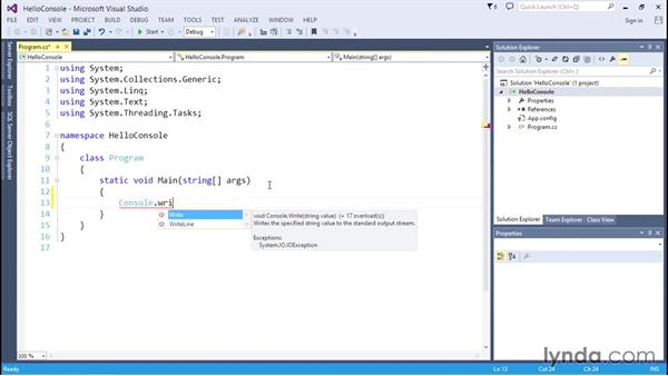 Creating a console application: C# Essential Training