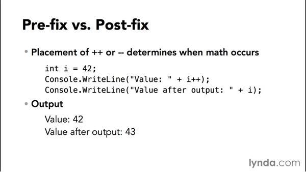 Using mathematical operators: C# Essential Training