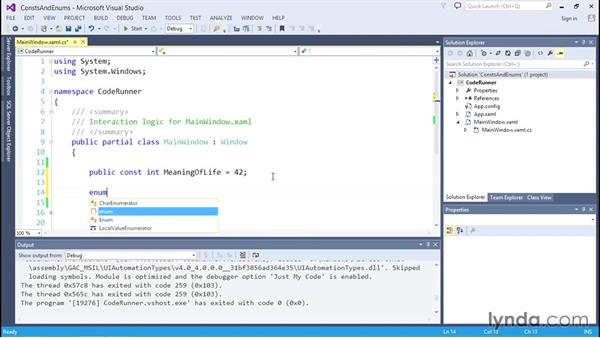 Using constants and enumerations: C# Essential Training