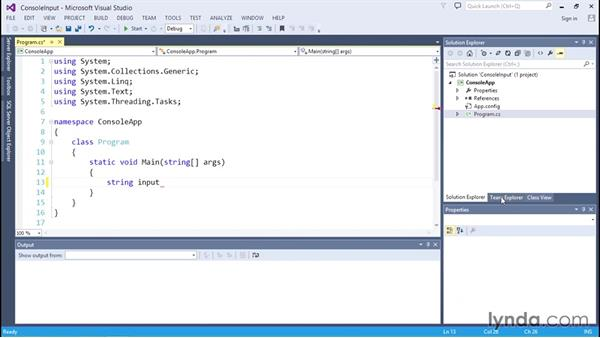Getting input in a console application: C# Essential Training