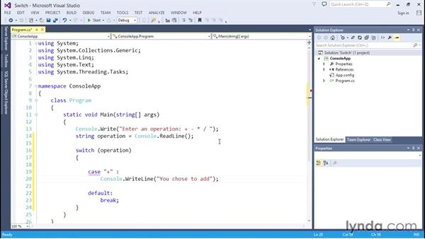 Evaluating conditions with switch statements: C# Essential Training