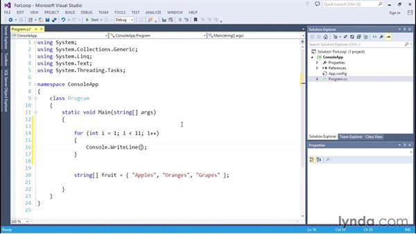 Looping with for statements: C# Essential Training