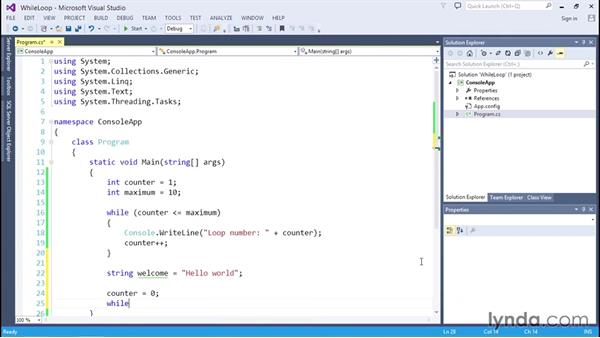 Looping with while and do statements: C# Essential Training