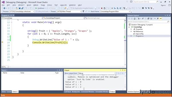Debugging exceptions in your code: C# Essential Training