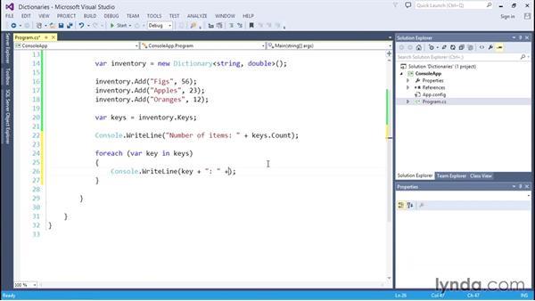 Managing unordered data with dictionaries: C# Essential Training