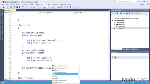 Declaring properties with shorthand get and set methods: C# Essential Training