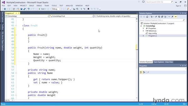 Adding multiple constructor methods: C# Essential Training