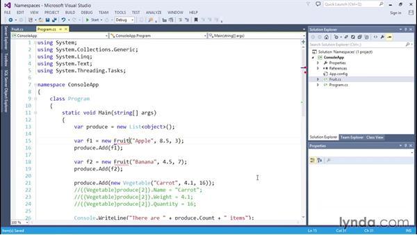 Organizing classes with namespaces: C# Essential Training