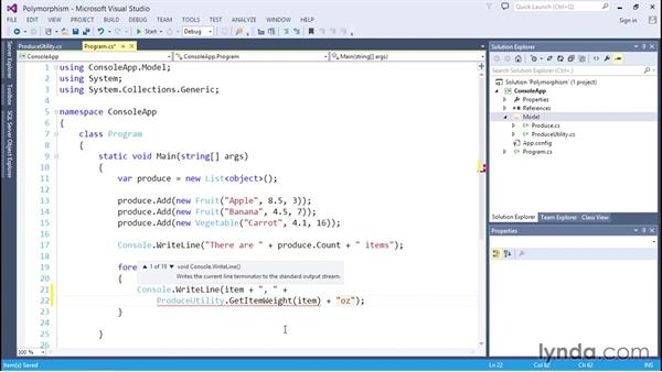 Creating methods that accept subclassed objects: C# Essential Training