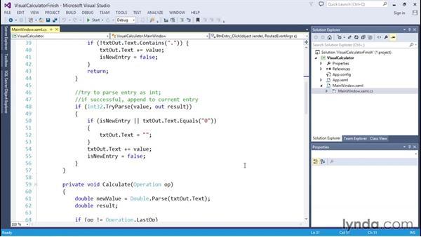 Solution: Creating a visual calculator in Windows Presentation Foundation (WPF): C# Essential Training
