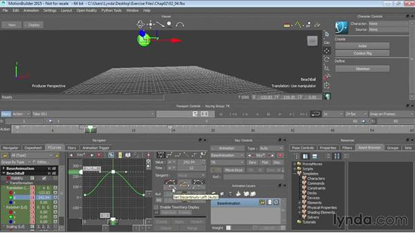 Working with animation curves: Up and Running with MotionBuilder