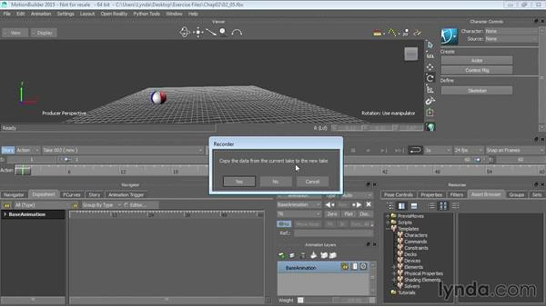 Creating takes: Up and Running with MotionBuilder